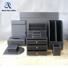 Luxury Black Business Office Table Organizer 6 8 10 Pieces PU Leather Desk Accessories Set