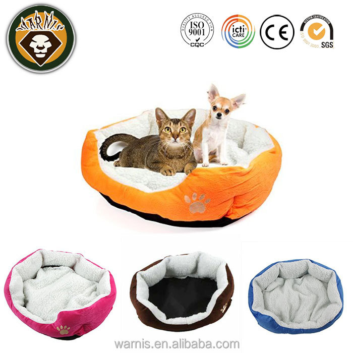 Dog Puppy Cat Plush Cozy Bed House Nest Kennel