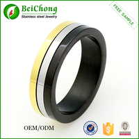 Wholesale 3 color diamond stainless steel movable ring