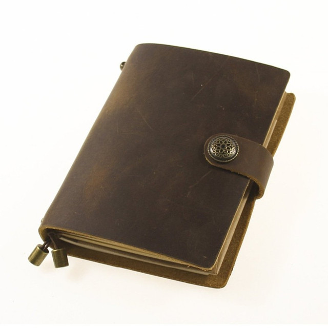 2017 A5 Luxury Leather Hardbound Cover Diary Notebook With Botton Closure And Linen Bag