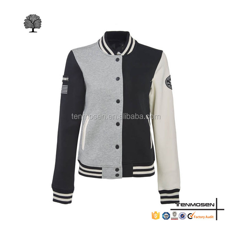 Custom girls baseball varsity jacket design your own slim varsity jacket