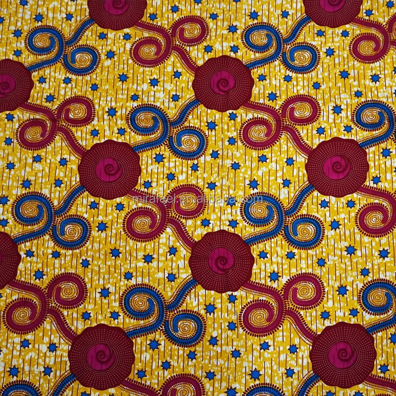 V282 custom prints cotton textile african real wax fabric wholesale