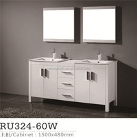 New Free Standing Solid Wood Bathroom Vanity Commercial Bathroom Double Sinks
