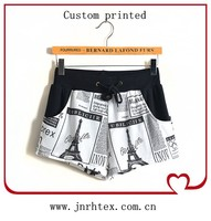 Soft 100%cotton custom woman's printed shorts
