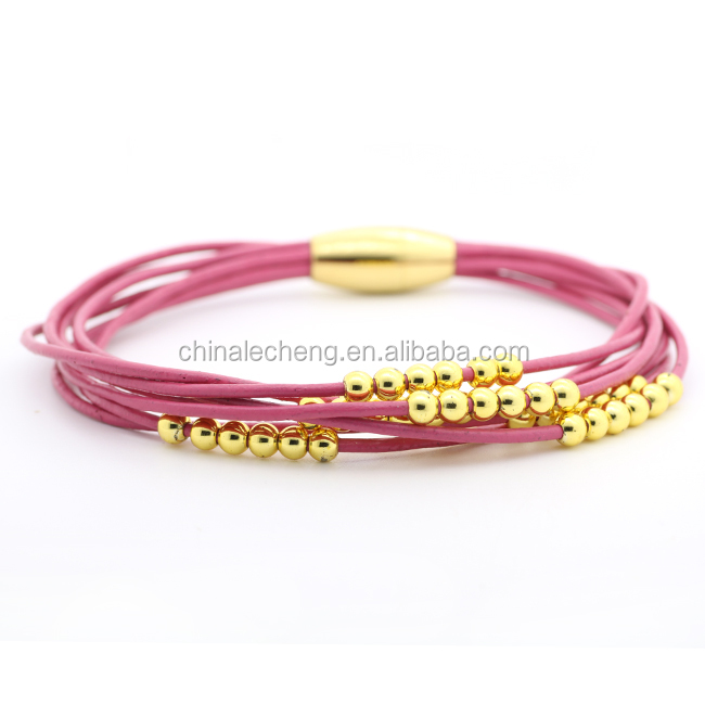 multiple strands leather bracelet custom made with gold tubes leather bracelet gold