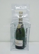 Promotional PVC ice bag for 1 bottle with handles