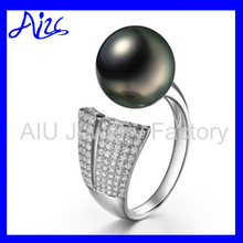 fashion pearl rare black pearl engagement ring