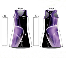 Wholesale sublimation custom sexy women A-line netball dresses/bodysuit