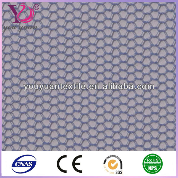 Hexagonal wire netting breathable polyester elastic mesh for shape wear
