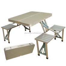 lightweight aluminum camping folding picnic table with 4 foldable metal seat