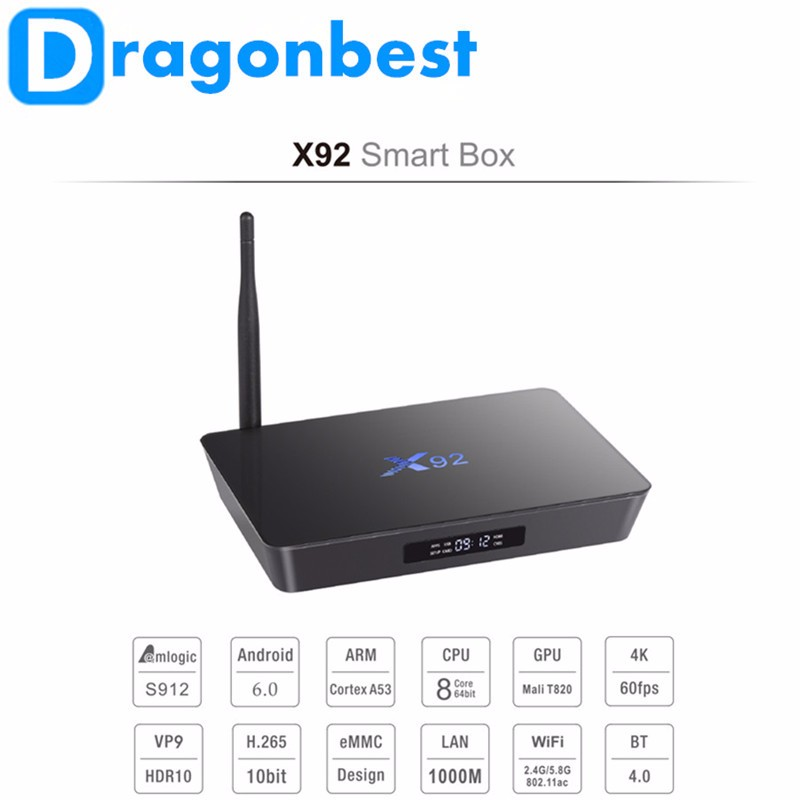 Dragonbest Amlogic S912 Android 6.0 TV Box Octa Core 2G RAM 16GB ROM dual band wifi real 4k with antenna X92 s912 tv box