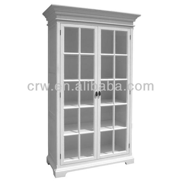 WH-4037 French Style Tall Bookcase White Wooden Shelf Glass Display Cabinet