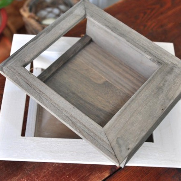 natural wooden frame garden plant flower pot