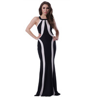 Latest fashion printed black and white elegant plus size fishtail dress