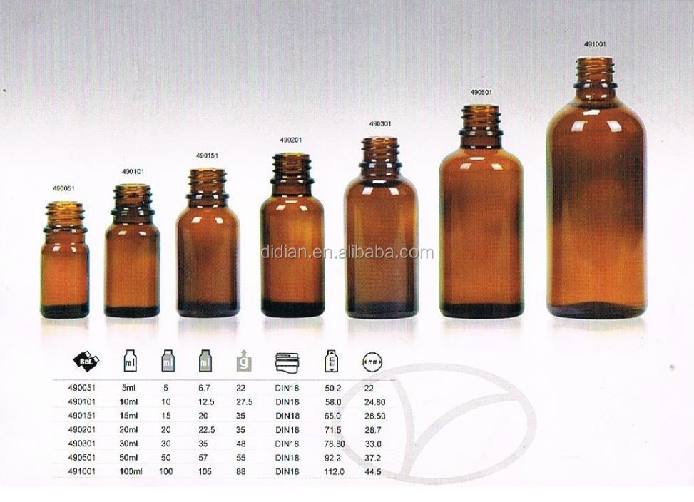 1-100ml temper evident childroof dropper pipette essential oil glass bottle