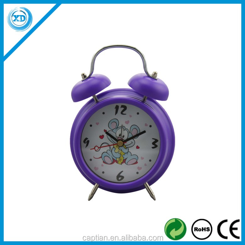 Hot sale Plastic Twin Bell Alarm table Clock for promotion gift