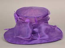 simple design Sinamay Organza sunday purple church hats for ladies