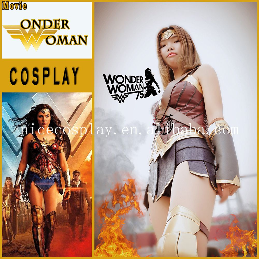 DC Hot Movie Costumes Wonder Woman Sexy Clothing Sequin Fabric Cosplay Uniforms Handmade High Quality Costumes Wholesale