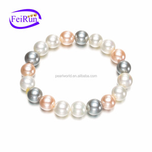 Feirunc 10mm mixed color cheap price shell pearl bracelet sea shell jewelry, stretch pearl bracelet