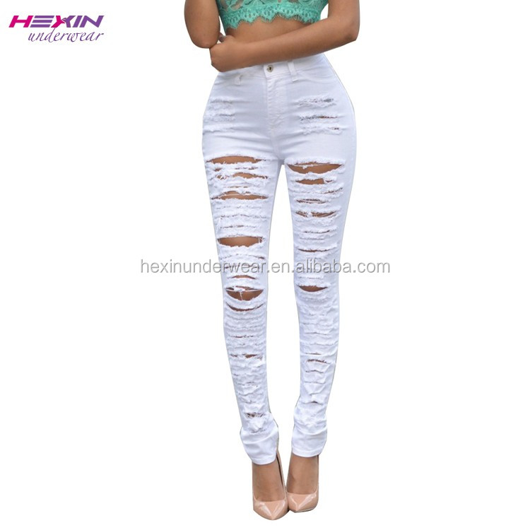 Yoga Stylish Trousers White Summer Ripped European Jeans Brands