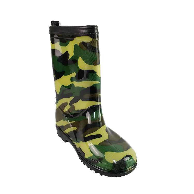Mens custom logo camo rain shoes custom rain boots