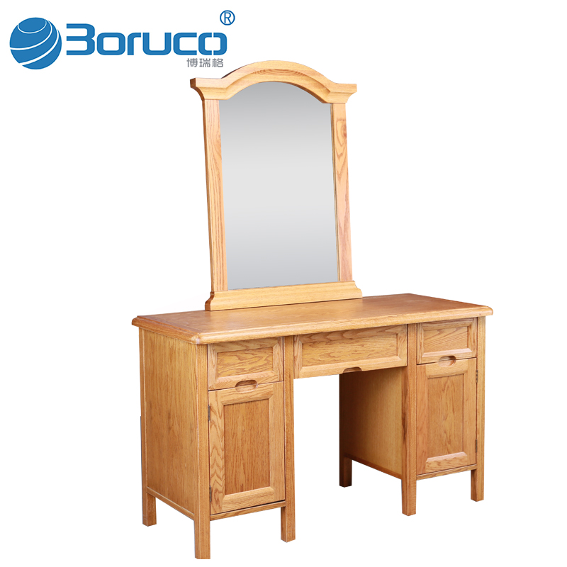 children wooden carving dressing table with mirror and stool