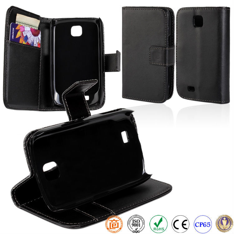 book style PU leather mobile phone case for SAMSUNG Galaxy Mini S5570