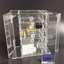 Multipurpose 100% clear acrylic cube jewelry earring compact makeup organizer