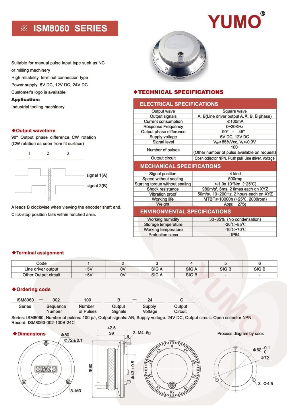 Ism8060 80mm 100 Ppr Pulse 5v Dc Manual Pulse Generator