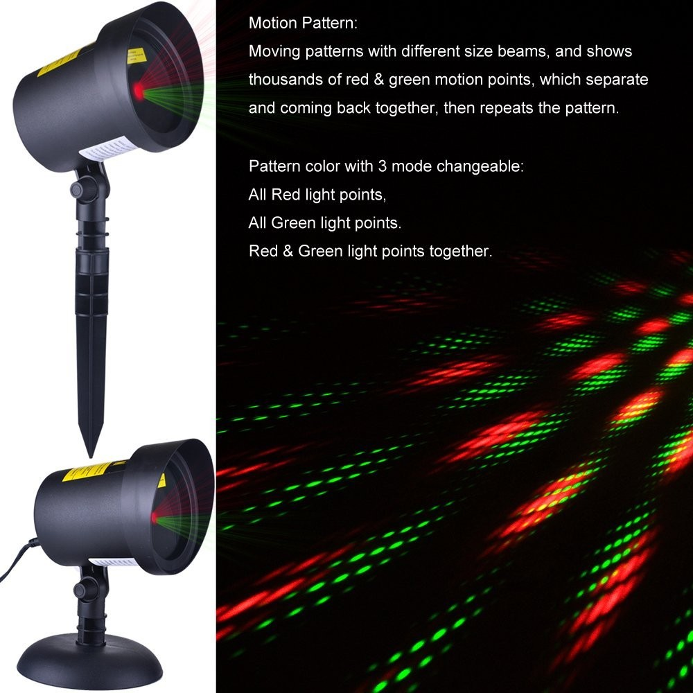 TUV Approved Red & Green dots star all over the sky laser light for Christmas party Holiday waterproof outdoor use