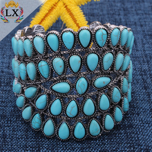 BLX-00112 statement chunky green natural turquoise stone bracelet wholesale bangle adjustable