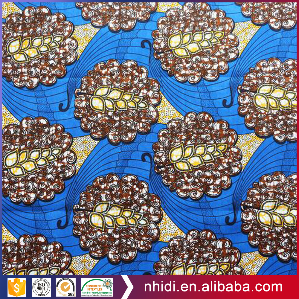 Factory poplin 100% cotton gold tropical african wax wholesale print fabric