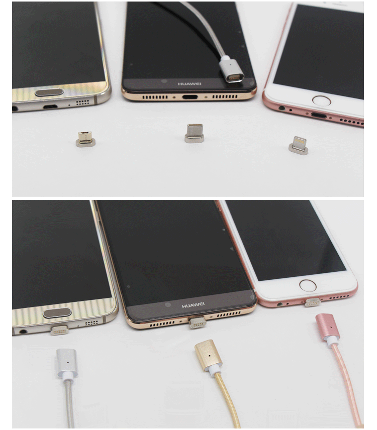 nylon braided 2 in 1magnetic charge cable 2.4a fast charge