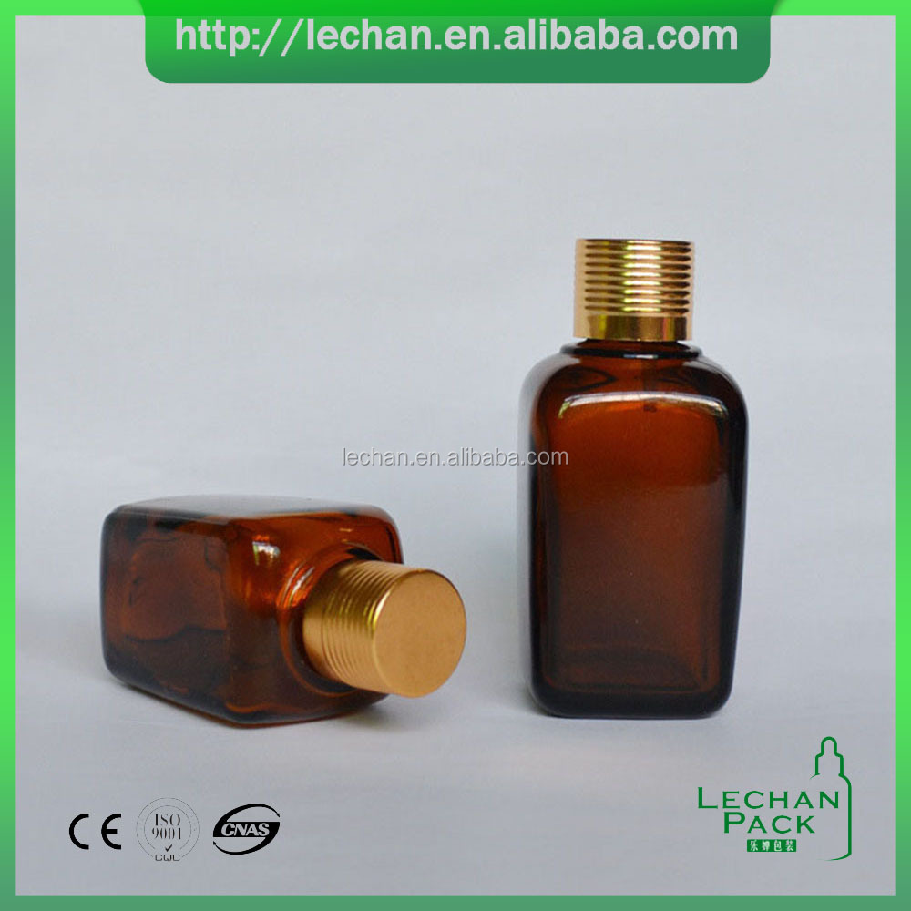 2016 packaging 15 ml 30 ml 50 ml 100 ml square amber glass bottle with gold aluminium screw cap