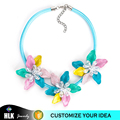Elegant Ladies Blue Color Metal Chain Ribbon Rhinestone Flower Necklace Jewelries