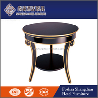 New design bentwood leg gold strip wood round coffee table side table