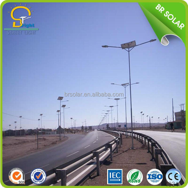 top battery position design solar street light in double arms