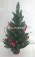 2013 Tabletop Decorated Christmas Trees Berries Red
