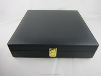 PU leather gift packaging box with lock ,black color