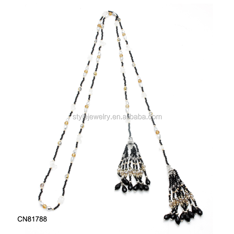 CN81790 New Fashion Women Long Bib Crystal Pendant Vintage Small Gravel Jewelry Statement Necklace