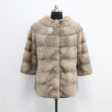 2017 New style fashionable real mink winter fur coat for Women