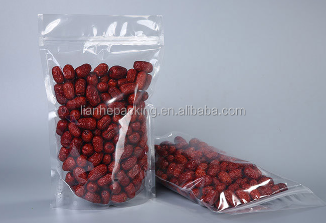 transparent plastic packaging bags for food grade/stand up zipper pouch/vacuum bags with ziplock on top