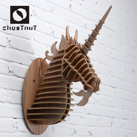 2015 most popular product wood carving animal unicorn head interior decoration items
