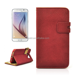 Dull polish leather case with magnet, folio with card slots case for Samsung galaxy S6 G920