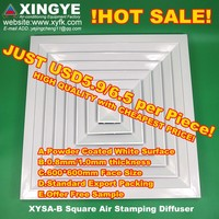 HVAC air conditioner ventilation good quality stamping cheap louver window frames diffusers grilles XYSA-B600 24*24inch