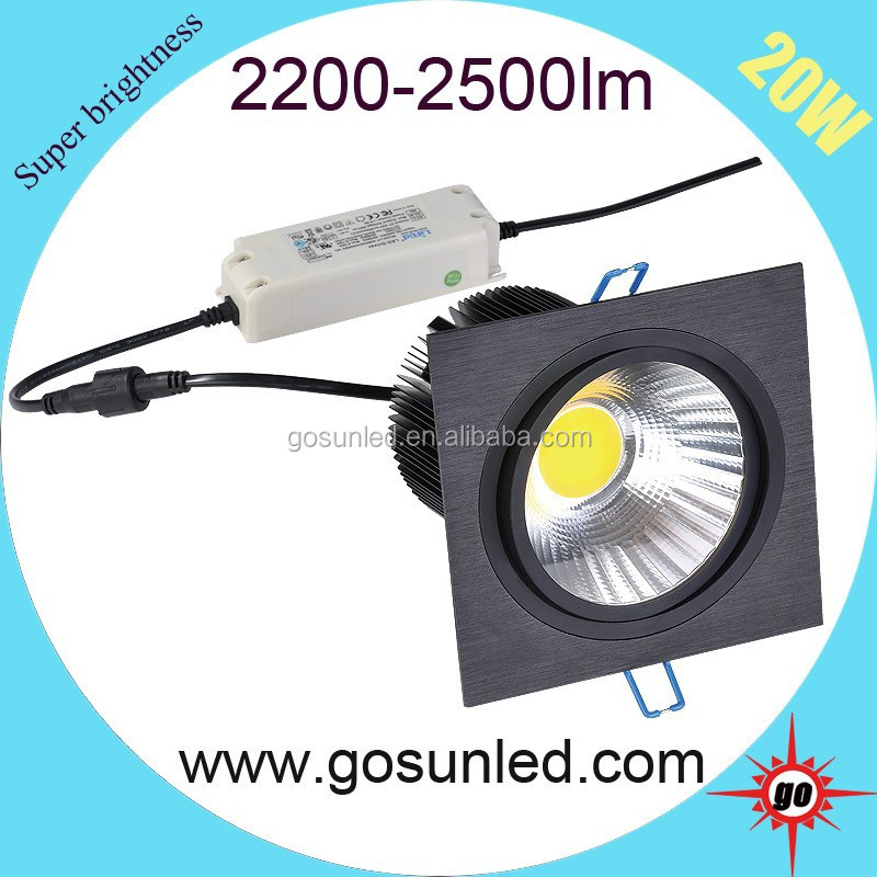 Shenzhen 20W Square Dimmable LED COB Downlight With Driver CE ROHS