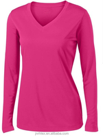 Custom cotton long sleeve dry fit t shirt for women