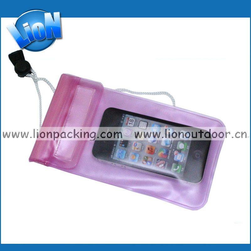 Wholesale waterproof pvc cell phone bag cover, mobile phone case neck strap