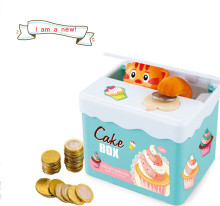 2017 New Arriaval DIY sticker decro cat stealing money box speakinig plastic money safe box for kids