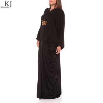 jet black silk soute islamic dubai abaya kaftans muslim evening part dress with waist belt beading stone work